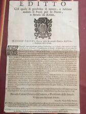 EDITTO DEL 23-4-1746-ROMA-DIVIETO DI CIRCOLAZIONE DEI PORCI X LE STRADE