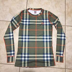KARI TRAA Blue Green Orange Plaid Long Sleeve Base Layer Shirt Womens Size Small