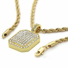 Mens 14k Yellow Gold Plated 24in Blocked Medallion Hip Hop Rope Chain Necklace