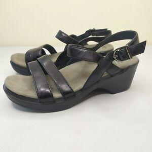 Women's Dansko Surraya Black Patent Leather Ankle Strap Sandals Sz 38 7.5-8