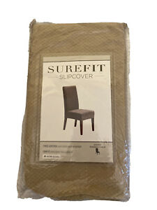 SureFit Short (Lot of 2)Dining Room Chair Slipcover Stretch Pique CREAM New !!