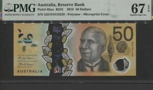 TT PK 65ax 2018 AUSTRALIA RESERVE BANK 50 DOLLARS PMG 67 EPQ SUPERB GEM UNC.