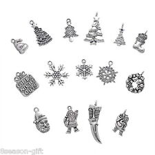 30 Mixed Silver Tone Christmas Charms Pendants