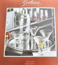 Gorham Reindeer Martini Cocktail 6PC Set Glasses Stainless Steel Shaker Tray New