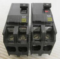 (2) Square D QOB250VH Circuit Breaker 2P 50A 120/240VAC