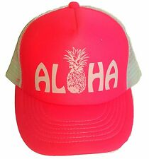 Aloha Pineapple Neon Pink Ladies  Hawaii Snapback Mesh Trucker Hat Cap