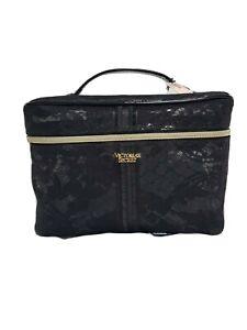 2 PC VICTORIAS SECRET BEAUTY BAG SET  COSMETIC MAKEUP TRAIN VANITY CASE