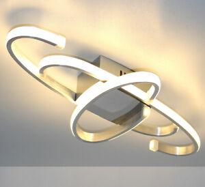 LED Deckenlampe Deckenleuchte Silber Glanz gebürstet 60x24cm groß 24W Warmweiß