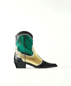 Zara ankle boots 100% leather metallic cowboy western 37,38,39,40,41 green gold