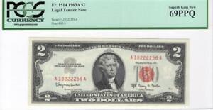 Fr. 1514 $2 1963a Red Seal Legal Tender PCGS Superb Gem Unc 69 PPQ