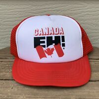Vintage CANADA EH! Snapback Hat Mesh Trucker Cap Red White Adjustable