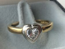 Heart Shaped 0.54 ct Diamond Solitaire Ring 18ct Gold size P / Q engagement