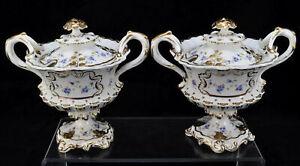 Pair of Antique Coalport Hand Painted Porcelain Gold & Floral Sauce Tureens 1835