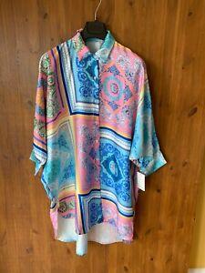 PAISLEY PRINT SHIRT DRESS Pink Blue Satin OVERSIZED FIT UK 12-14-16-18 - BNWT