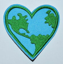 Save the Earth heart ecology retro hippie boho sew applique Iron On patch