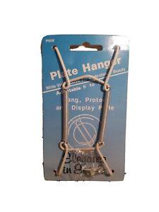 Vintage Wall Plate Spring Hook Hanger Holder Hanging Wire White Vinyl Decor Home