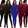 New Women's Lace High Waist Long Jumpsuit Clubwear Party Dress Romper Trousers