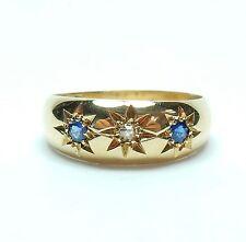 Antico Vittoriano 1890 18 KT Oro Zaffiro & Diamante Tre Pietre Anello Zingara