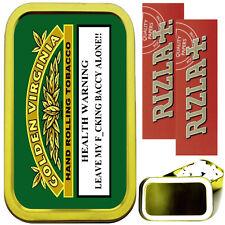 GOLDEN VIRGINIA SMOKING SET, GOLD 1oz TOBACCO TIN, 2 X RIZLA PAPERS & FILTERS