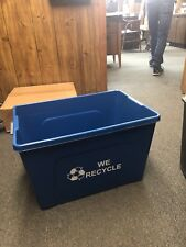 Recycling Bin, Blue, Plastic, 18 Gallon, Lot of 10