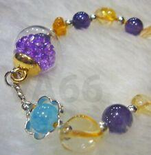 Citrine Amethyst Aquamarine Healing Stretch Gemstone Bracelet Gelang Batu Asli