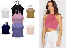 New Women Plain Sleeveless Halter Neck Tie Up Ladies Crop Top Blouse