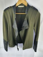 VICTORIA + WOODS Green Black Wool Leather Jacket Ladies 2