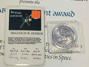 NASA Official Vintage Skylab Certificates, Flown Metal Coin & Parasol Card 1974