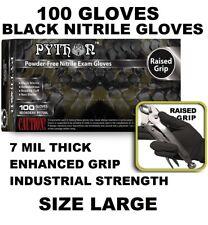 PYTHON Black Nitrile Gloves, 7 mil, Powder Free, 100 Gloves, Size L Large