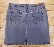 Levi's Skirt Size 18 Denim Jean Straight Pencil Retro Hippie Vintage Red Tab