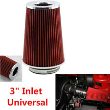 "Universal Aluminium 3"" Course Sports Air Intake Cone Filter Cleaner ventilation de carter"