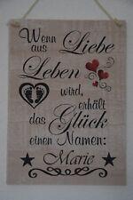 """Wandschild Dekoschild Holzschild """"Baby Wunschname"""" - handmade - creme beige"""