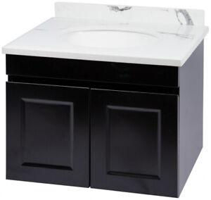 CABINET ONLY Matte Black Vanity Cabinet 600mm Polyurethane Matte MDF