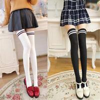 Ladies Women Cotton Over The Knee Socks School Thigh High Stockings Fancy Dress