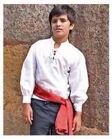 Child Pirate Captain Renaissance Victorian Costume Shirt White Boy's S Med L XL