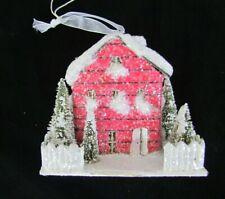 Putz /Paper Style Red Saltbox House Ornament w light ~ Ragon House 10304 village