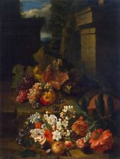 "oil painting handpainted on canvas ""Flowers, Fruit and a Hedgehog ""@N14245"