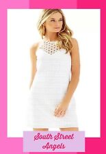 LILLY PULITZER 20934 RESORT WHITE BUBBLY STRIPE KNIT LACE LARINA SHIFT DRESS XL