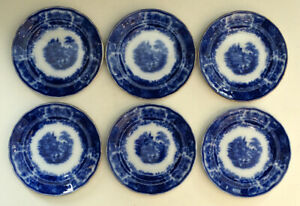 6 Antique NON PAREIL Burgess Leigh FLOW BLUE Transferware DESSERT PIE PLATES