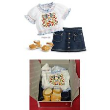 """American Girl Julie's Peasant Top 18"""" doll Outfit Sandals denim Skirt NEW in BOX"""