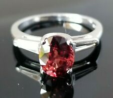 Rare Deep Pink Zircon VS Diamond Platinum Ring SZ 7.75
