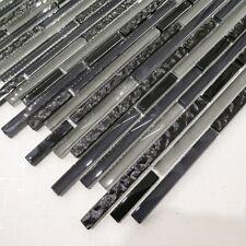 Designer Linea Grey & Black Glass Stripes Mosaic Tiles Walls Floors Bathrooms