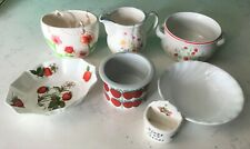Lot of 7 Various Dishes, Bowls, Pitcher, Ring Holder Floral, Strawberries Design
