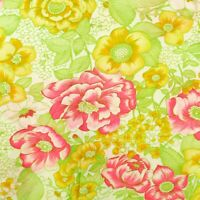 1960s Floral Fabric 2 Way Stretch Knit Polyester 1.3 Yards Pink Yellow Green