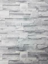 3D Slate Stone Brick Effect Wallpaper Grey Rock Realistic Vintage Textured