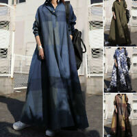 Womens Casual Plaid Check Long Sleeve Oversize Collared Button Down Shirt Dress