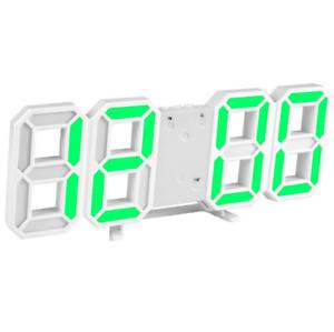 Reloj Digital 3D LED Despertador 12/24 Horas Auto Brillo USB Escritorio De Pared
