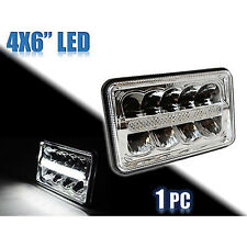 "(1) 4X6"" Chrome DRL LED HID  Light Bulb Clear Sealed Beam Headlamp Headlight"