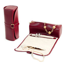 Bey Berk RED Leather Jewelry Roll w/Zippered Compartments Watches/Bracelets