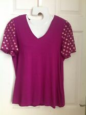M&S PINK PURPLE GOLD SPOT SHORT SLEEVE stretch BLOUSE T Shirt Top size 16 BNWT